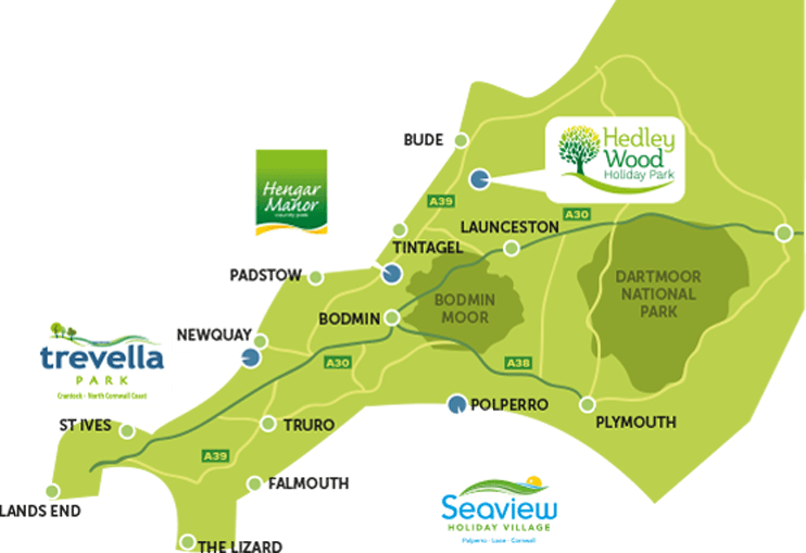 Map of our Cornwall Holiday Parks